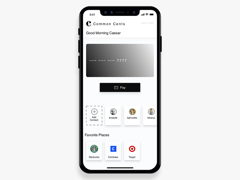 Common Cents Mobile Payments Mockup square venmo paypal finance app simple modern bank app crypto app crypto design crypto wallet app design mobile app crypto finance