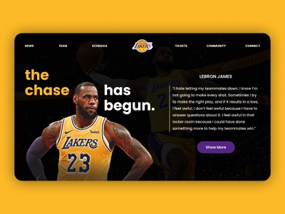 LA Lakers Landing Page lebron james los angeles lakers orange theme typography web design landing page ux design ux ui design ui