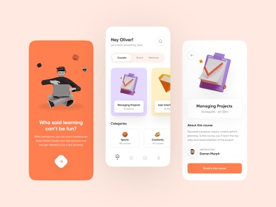 Courses App UI orange theme courses app vector illustration mobile design app design typography ux design ux ui design ui