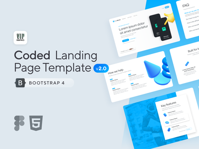 Coded Landing v2 - Figma UI + Bootstrap 4 HTML web design web webpage website bootstrap 4 bootstrap figma ui modern 3d icons 3d creative clean landing page