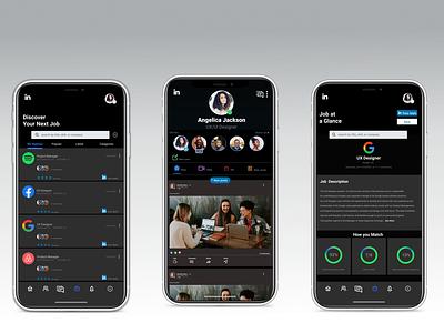 LinkedIn Case Study social network mobile ui dark theme concept app design mobile app case study