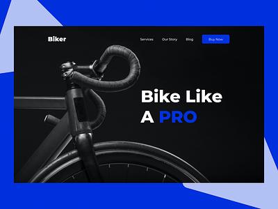 Biker webpage web exercise outdoor biker splash creative ui illustration landing splash page branding