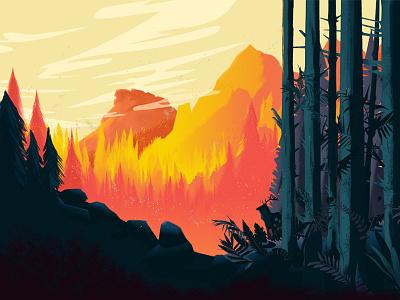 Wildfire illustration art vegetation fire landscape mountains forest inspired ollymoss wildfire plants illustrated illustration design vector illustration
