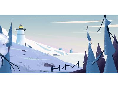 Cape Cod illustration landscape vacation snow winter cape cod