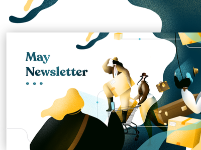 Route newsletter shipping boxes influencers exploring adventure character app girl illustration