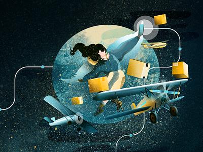 Flying flying shipping plane adventure app girl illustration
