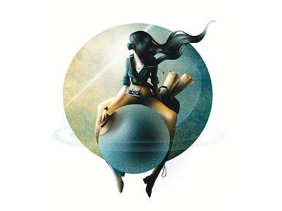 Flying girl world adventure app girl character illustration