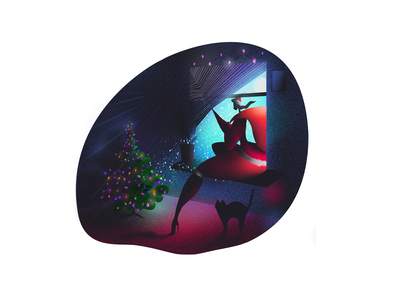 Xo Xo Xo christmas tree christmas new year cat window eve santa woman charachter