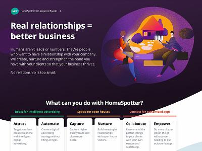 Homespotter website building home businesman cat real estate minimalistic flat purple business web color clean vector ui character illustration