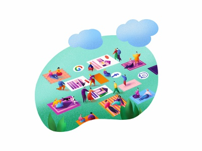 Homespotter Boost building grass clouds social media pivnic people character illustration