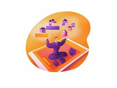 Spacio App character orange i-pad house men housing broker businessman ui illustration