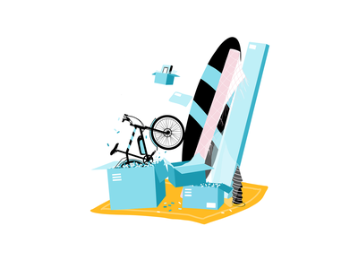 Happy Shipping app box thank you e-mail bike delivery shipping box shipping app ui illustration