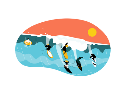 Surfing blue app flat surf sun waves ocean surfing character illustration