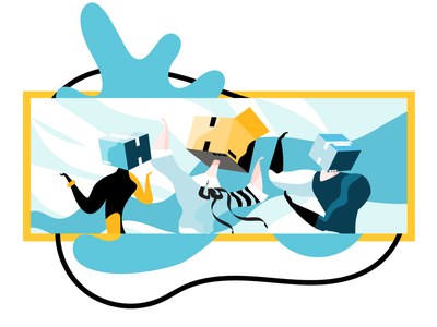 Blog Article characters article blog route app people boxes illustration