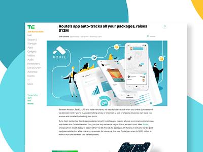 TC Article app tracking tech product tech crunch shipping ui branding illustration