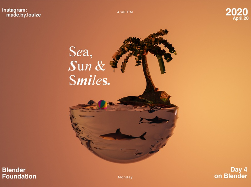Sea, sun, & smiles - 3D 3d orange blender 3d art
