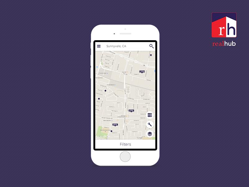 App Design - Realhub - Map Screen ux ui realty realhub application app