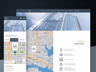 Explore the Neighborhood —601citycenter.com oakland interactive map mapbox responsive design responsive website