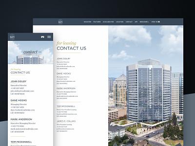 For Leasing Contact — 601citycenter.com responsive design website
