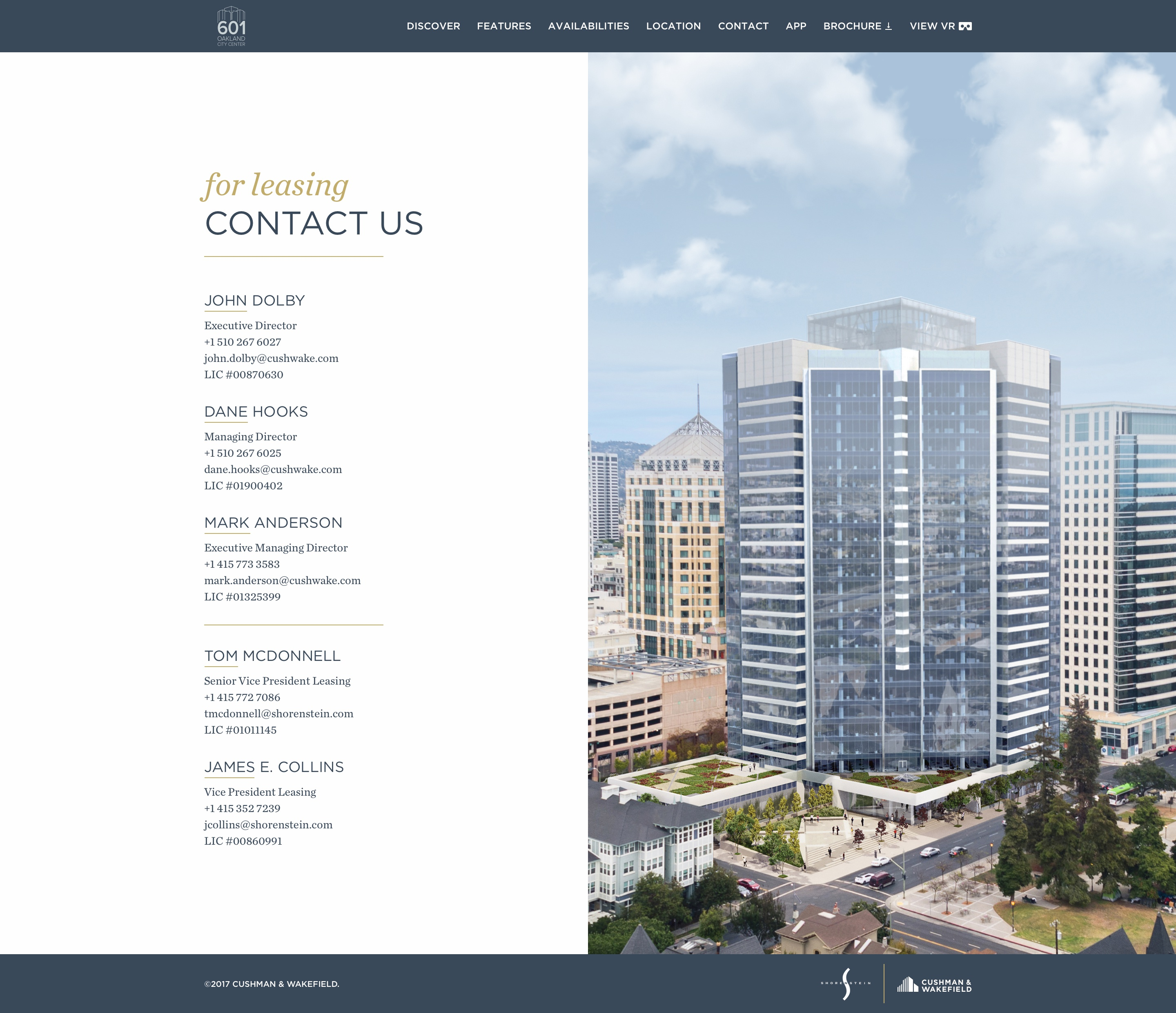 601citycenter   contact page   desktop