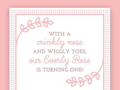 First Birthday Invite pink girl birthday invitation