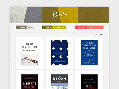 Book Publisher Archive Page filters pattern grid desktop web design website covers books