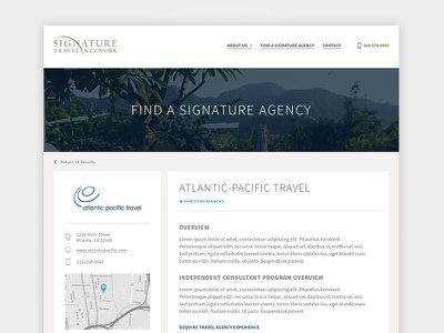 Agency Profile Page listing profile
