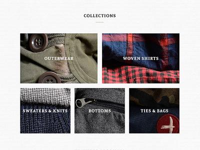 Men's Heritage Clothing Brand grid ecommerce shop fashion clothing