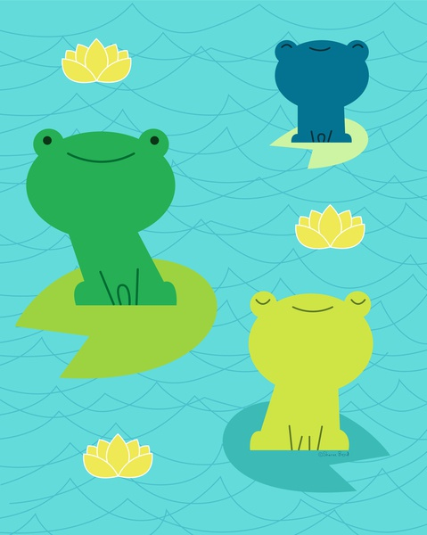 Frogs in a Pond lotus flower lily pad pond waves water frogs