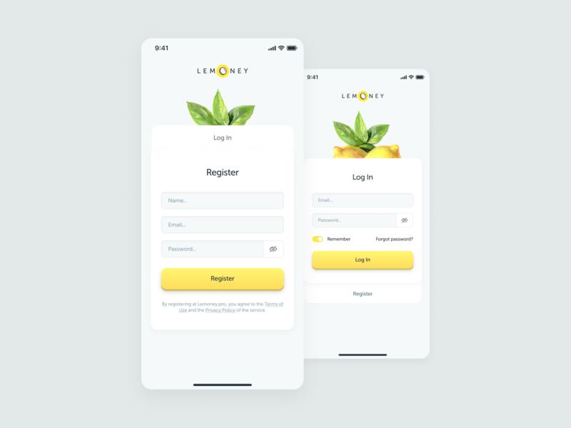 Registration and Login Design of an mobile app. 001 dailyui app ux ui yellow interface design app design ux design ui design lemon figma
