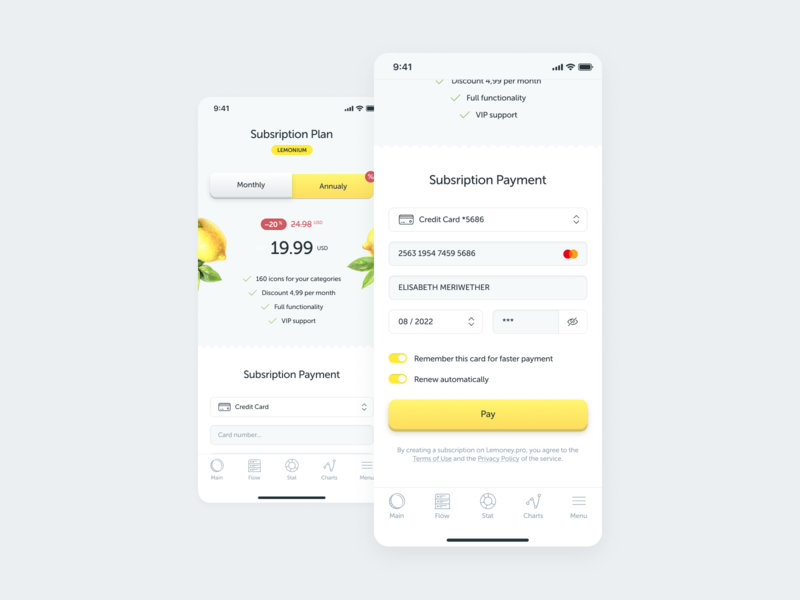 Subsription Payment with Credit Card in an app credit card payment subscription financial app yellow ux design ux ui design ui lemon interface design figma dailyui app design app 002