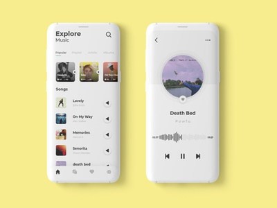 Music app music app adobe photoshop adobe illustrator adobe xd user experience user interface ux minimal illustrator illustration app ui design