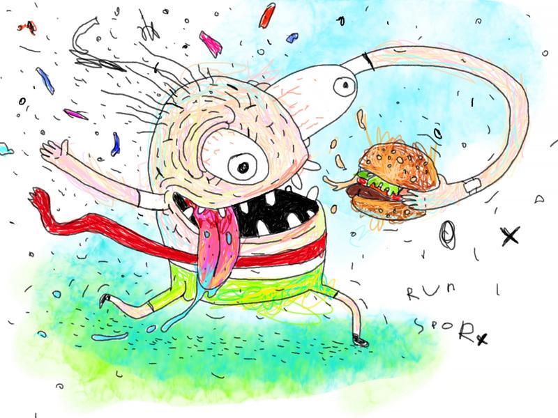 Runner with hamburger comics cute food sport run doodle cartoon design character design watercolor pencil art drawing illustration character burger humburger runner winner