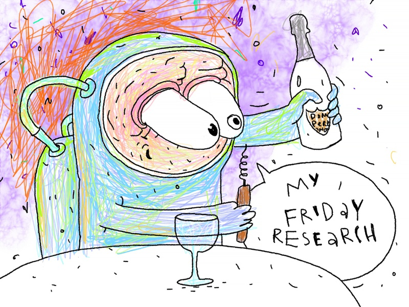 Friday wine research watercolor humor sketch doodle friday dom perignon bottle cosmonaut comics funny cute art cartoon graphic pencil drawing character design character astronaut