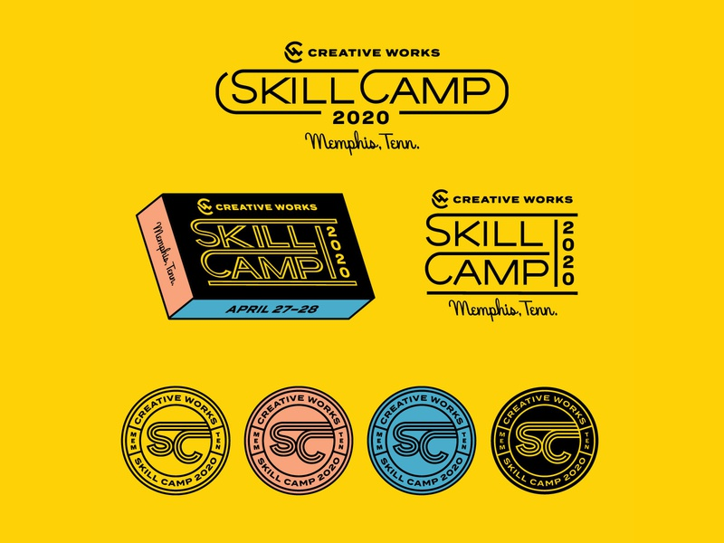 Skill Camp 2020 Logo System conference badge seal patches logo system hoodzpah logo design