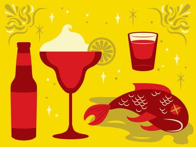 Mexican Cinco De Mayo Icons shot glass shot beer bottle lemon lime fish dead fish skull dia de los muertos mexican poster bright fun pool rack pool rack bar