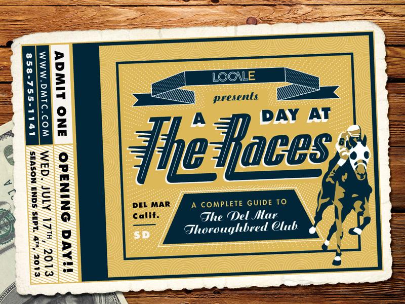 Del Mar Thoroughbred Club Ticket ticket vector retro vintage horses horse jockey banner