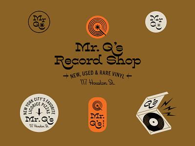 LonePine specimen Mr. Q's Record Shop record store type design font typography seal logo lettering hoodzpah vector illustration retro