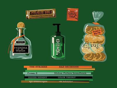 LonePine specimen Quarantine Supplies typography vector custom lettering custom type chai tea tea records bagels tequila hoodzpah lettering illustration