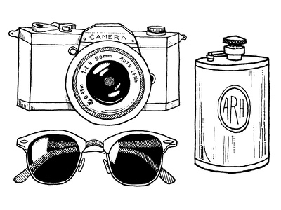 Adventure Survival Kit 2 illustration pen ink hand drawn flask camera lens sunglasses sunnies glasses roadtrip adventure survival
