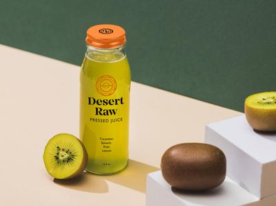 Desert Raw Brand Identity System hoodzpah packaging consumer goods kiwi juice brand identity logo