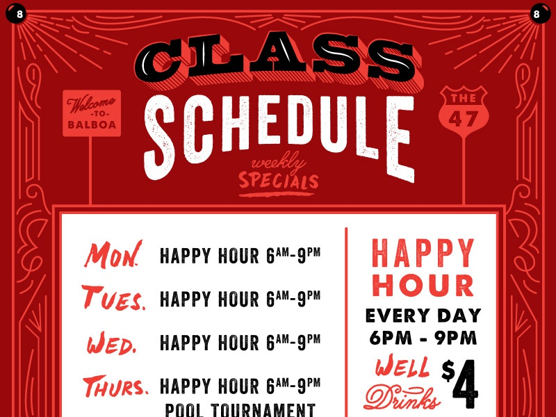 class weekly schedule poster by amy hood dribbble dribbble