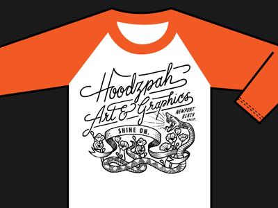 Hoodzpah Baseball Tees B tshirt tee baseball snake poppies diamond hand drawn script hoodzpah