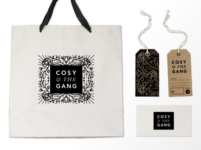 Cosy And The Gang Branding branding hang tags clothing tag business card shopping bag logo boutique hoodzpah