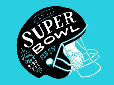 Superbowl Graphic for Class of 47 Poster football super bowl helmet hand drawn typography