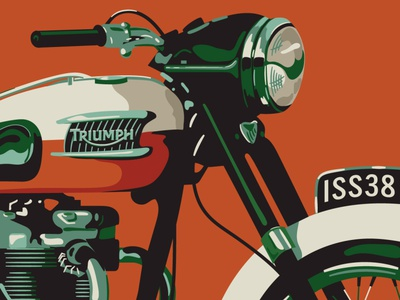 Iron & Air Art and Design Issue Cover Illustration illustration chrome hoodzpah retro bonneville motorcycle triumph