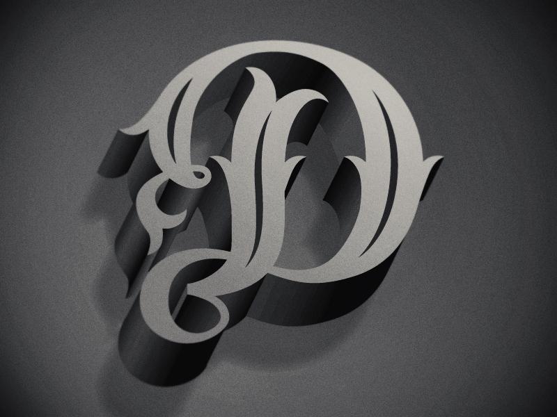 type fight the letter d typography lettering film noir drop shadow 3d script drop cap