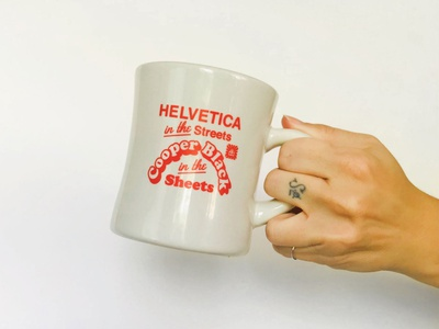 """Helvetica In The Streets"" Typography Mug hoodzpah funny pun cooper black helvetica coffee coffee cup mug gift lettering typography"