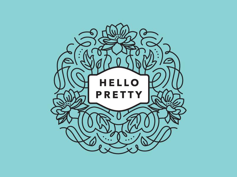 Hello Pretty Logo Mockup logo branding flourishes swashes ornate feminine leaves floral whimsical