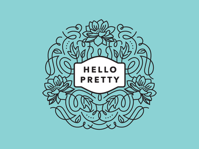 Hello Pretty Logo Mockup logo branding flourishes swashes ornate feminine leaves floral whimsical